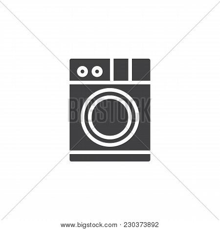 Washing Machine Vector Icon. Filled Flat Sign For Mobile Concept And Web Design. Clothes Washer Simp