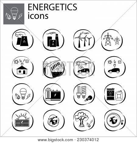 Power Engineering Set, Power Set, Energetics Black On White Background
