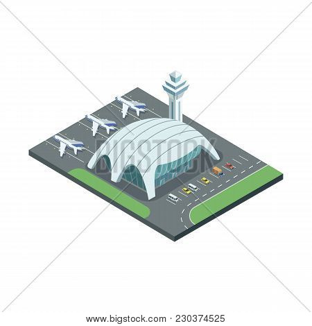 Isometric Airport Building With Contemporary Architecture And Spacious Field.