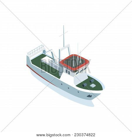 Isometric View Of Small Sea Sailing Vessel Isolated On Whtie.