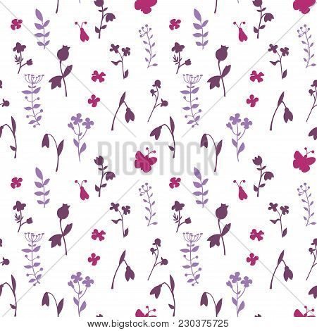 Meadow Seamless Pattern With A Lot Of Spring And Summer Flowers. There Are Bug And Butterfly. There