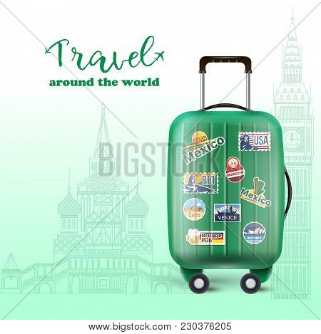 Vector Picture Of Green Luggage Bag With Plenty Of Country Stamps For Worldwide Voyage.