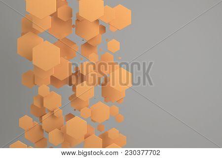 Orange Hexagons Of Random Size On White Background