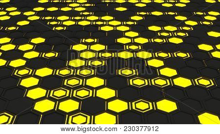 Abstract 3D Background Made Of Yellow Hexagons On Orange Glowing Background