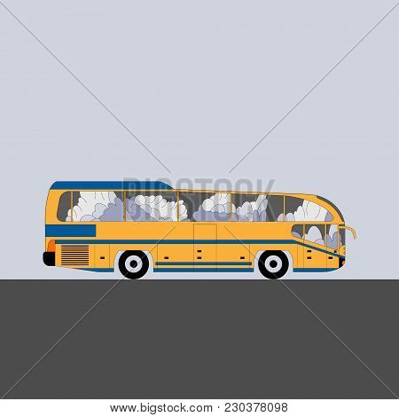 Modern Intercity Bus. Flat Style Vector Illustration.