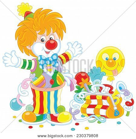 Friendly Smiling Circus Clown In A Colorful Suit With His Toys In A Suitcase, A  Vector Illustration
