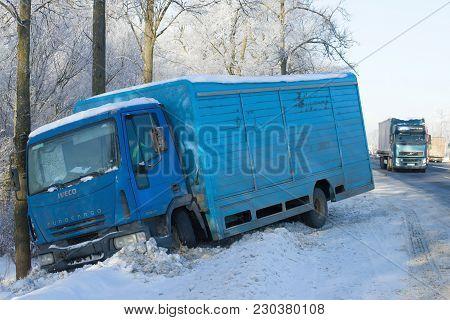 Leningrad Region, Russia - February 21, 2018: The Iveco Eurocargo 120el17 Truck Which Has Descended