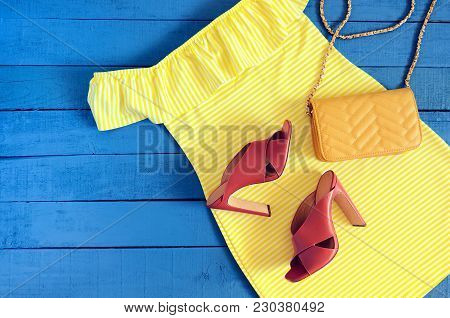 Womens Clothing, Accessories, Footwear (yellow Dress,  Leather Terracotta Heel Shoes,  Crossbody Bag