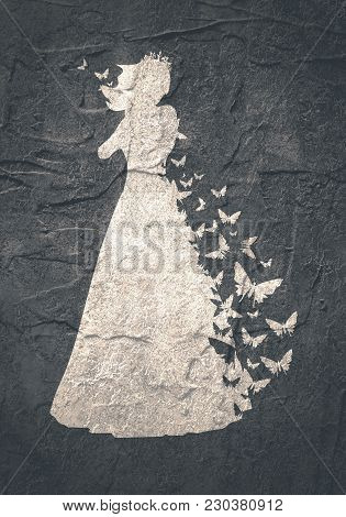 Sexy Woman Silhouette In Evening Dress. Medieval Queen Or Princess Monochrome Silhouette With Butter