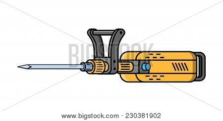 Jachhammer Construction Electric Tool. Flat Style Icon Of Jachhammer. Vector Illustration.