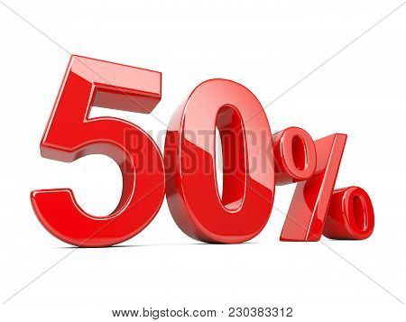 Fifty Red Percent Symbol. 50% Percentage Rate. Special Offer Discount. 3d Illustration Isolated Over