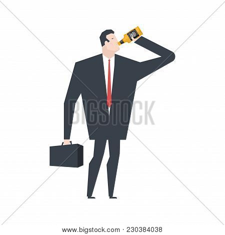 Businessman Drinks Alcohol From Bottle. Boss Alcoholic. Office Life Vector Illustration.