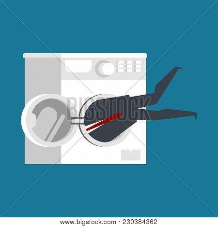 Businessman In Washing Machine. Boss Is Stuck. Vector Illustration