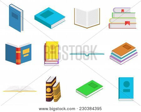 Colored Books Icons Set In Flat Design Style. Books In A Stack, Open, In A Group, Closed. Reading, L