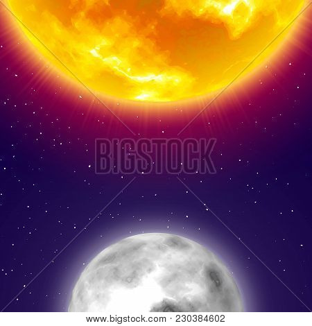 Half moon and sun, night sky background, vertical card, cartoon style. Two celestial bodies of solar system in space. Vector illustration on cosmos theme poster