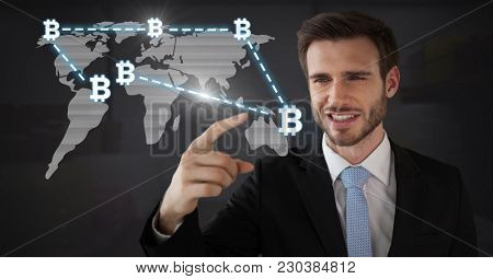 Digital composite of Businessman touching bit coin graphic icons on world map connecting