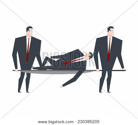 Businessman Carries Boss On Stretcher. Office Life Vector Illustration.