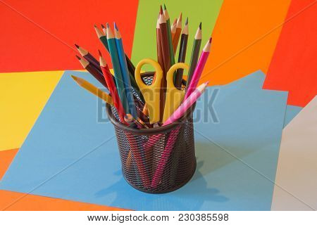 Colors Pencils, Colorful Many Crayons. Pencils In A Glass. Bright Colored Pencils