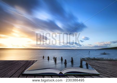 Creative Book Image Of Beautiful Vibrant Sunset Landscape Image Of Fleet Lagoon In Dorset England