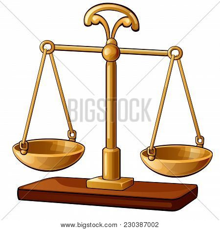 Scale Balances Isolated On White Background. Vector Cartoon Close-up Illustration.