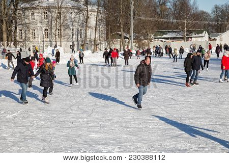 Saint Petersburg, Russia - March 04, 2018: Many People Skate On The Skating Rink On Elagin Island In