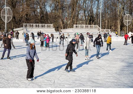 Saint Petersburg, Russia - March 04, 2018: Many People Visiting Open Skating Rink On Elagin Island O