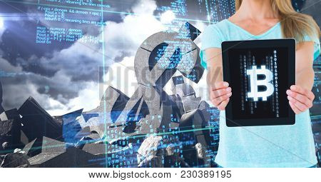 Digital composite of Bit coin icon on tablet in woman's hands with broken dollar stone