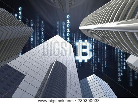 Digital composite of Bit coin icon and binary code lines in sky above 3D city buildings