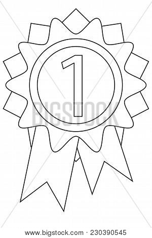 Line Art Black And White First Place Reward Icon Poster. Pet Care Themed Vector Illustration For Gif