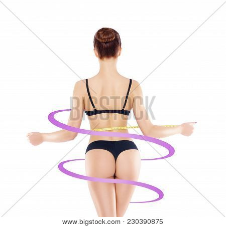 Fit And Slender Woman In Swimsuit. Perfect Female Shape. Back And Buttocks. Medicine, Weight Loss, F