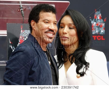 Lionel Richie and Lisa Parigi at Lionel Richie Hand And Footprint Ceremony held at the TCL Chinese Theatre in Hollywood, USA on March 7, 2018.