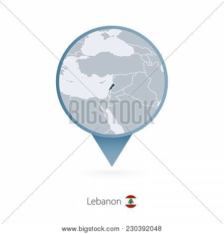 Map Pin With Detailed Map Of Lebanon And Neighboring Countries.