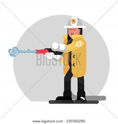 Fireman Girl Extinguishes The Fire. Vector Illustration, Eps 10