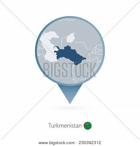 Map Pin With Detailed Map Of Turkmenistan And Neighboring Countries.
