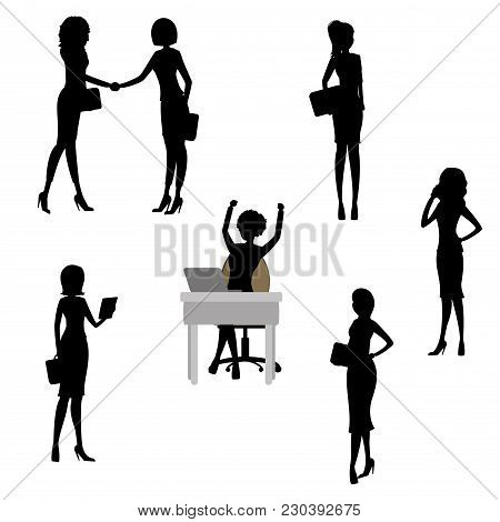 Set Of Business Woman Silhouettes, Stock Vector Illustration
