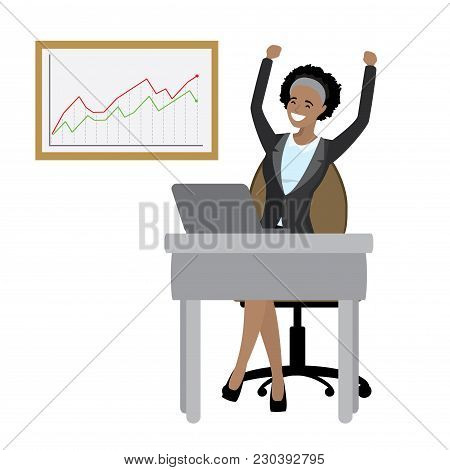 African American Business Woman Enjoys Success And Growing Chart, Isolated On White Background, Cart