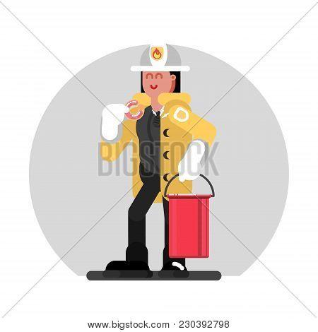 Fireman Girl Standing With Bucket Of Water. Vector Illustration, Eps 10