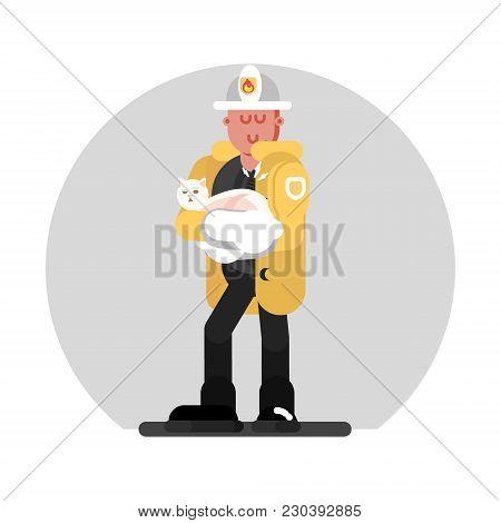 Fireman Saves The Cat. Vector Illustration, Eps 10