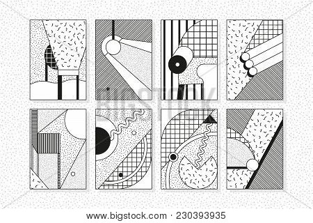 Black And White Trend 90s 80s Style Geometric Pattern Set Juxtaposed With Bright Bold Blocks Of Colo