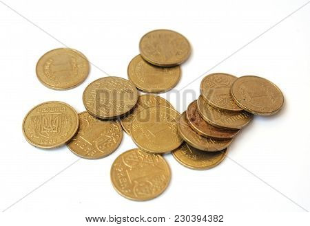 Many Coins One Hryvnia Ukraine On A White Background