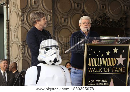 LOS ANGELES - MAR 8:  Mark Hamill, George Lucas at the Mark Hamill Star Ceremony on the Hollywood Walk of Fame on March 8, 2018 in Los Angeles, CA