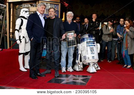 LOS ANGELES - MAR 8:  Harrison Ford, Mark Hamill, George Lucas at the Mark Hamill Star Ceremony on the Hollywood Walk of Fame on March 8, 2018 in Los Angeles, CA