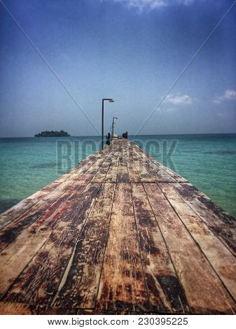 A Deserted Dock Waiting For Tourists From The Mainland In Koh Rong, Southern Cambodia Island.