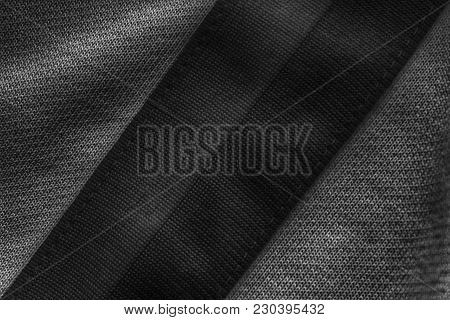 Striped Cotton Fabric Neutral Gray Texture With Lines For Bckground.