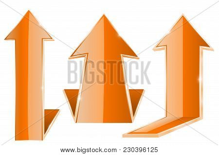 Up Arrows. Orange 3d Web Glass Arrows. Moving Above Icons. Vector Illustration Isolated On White Bac