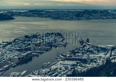 panoramic view from the observation deck at Bergen