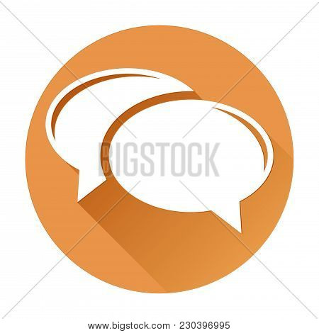 Speech Bubbles. Orange Round Icon With White Sign. Vector Illustration Isolated On White Background