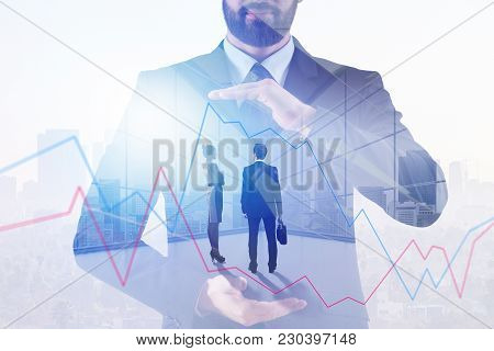Businessman Pointing At Forex Chart On Abstract City Background. Meeting, Teamwork And Finance Conce