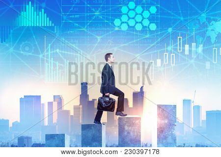 Side View Of Young Businessman Climbing Business Chart Ladder On Abstract City Background With Busin