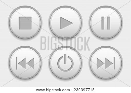 Media Buttons. White Audio Icons Set. Vector 3d Illustration